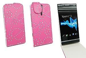 Kit Me Out ES ® Funda Flip Cover cuero sintético + Cargador para coche + Protector de pantalla con gamuza de microfibra para Sony Xperia S - Rosa intenso Diseño destellos brillantes