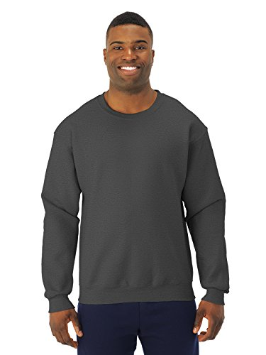 Jerzees Adult Preshrunk Fleece Crewneck Sweatshirt, Blk Hthr, Large
