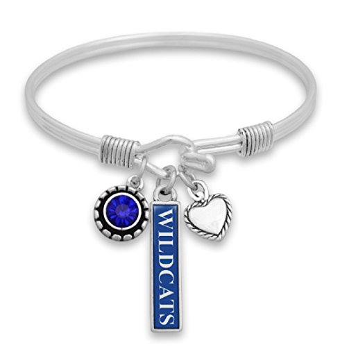 Kentucky Wildcats Heart - FTH Kentucky Wildcats Triple Charm Wire Bangle Bracelet with Heart and Team Color Nameplate Charms