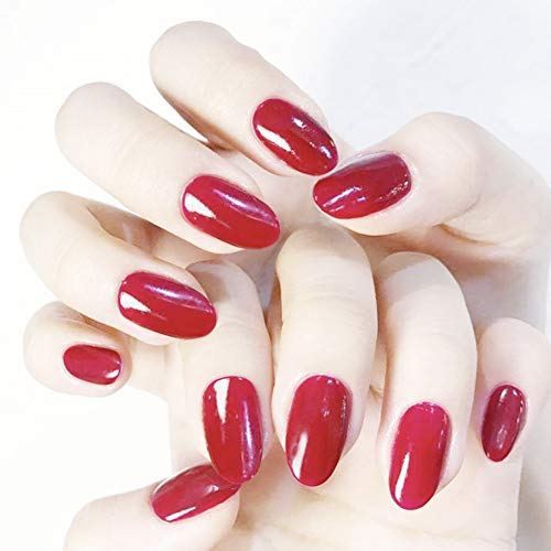Aegenacess 24Pcs False Nails Short Oval Fake Design Red Shiny Press On Gel Nail Acrylic Artificial Manicure Tips French With Double Sided Stickers for Women and Girls -