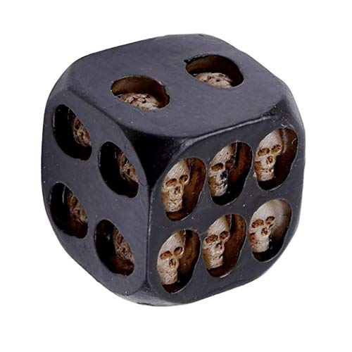 RICK-LIKE 5pcs/set Black Mini Death Skull Dice for Party Playing Drinking Death Table Game Party Tool (Skull Die)