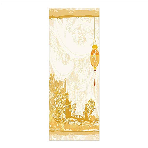 (3D Decorative Film Privacy Window Film No Glue,Lantern,Old Paper with Ancient Japanese Buildings Depicted on Asian Retro Style Samurai Decorative,Light Yellow,for)