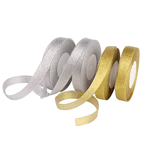 Ribbon Metallic (Feyarl Glitter Metallic Ribbon 5/8-inch Wide Sparkly Fabric Ribbon for Gift Crafters Sewing Wedding Brithday Wrap Card Making Hair Bows Floral Projects (Gold&Silver))
