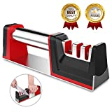 Joso Professional Kitchen 3 Stage Stainless Knife Sharpener with Diamond Tungsten Ceramic for Dull Steel, Paring, Chefs and, Medium, Red, Black, Chrome, Silver