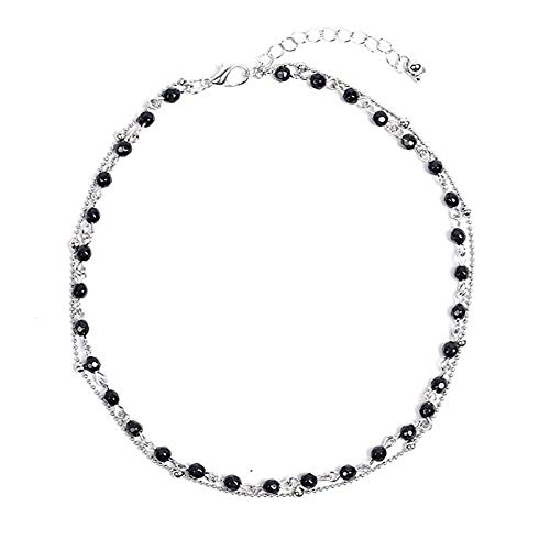 Dolovely Dainty Layered Black Beaded Choker Necklace 14k Silver Plated Collar Chain for Women Girls