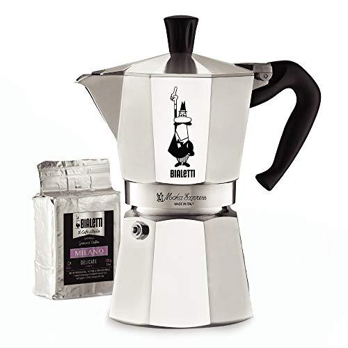 Bialetti 06651 Moka Express Stovetop Maker with Free Ground Coffee, 6