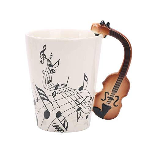 Violin Music Unique Handle Art Musical Notes Holds Tea Coffee Milk Ceramic Mug Cup 12 Oz Best ()