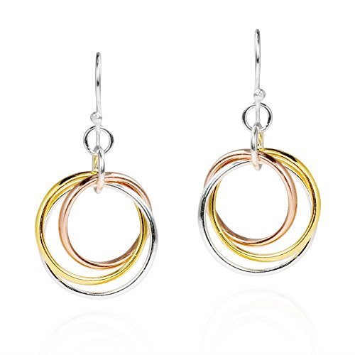 (Trendy Tri Color Hoop .925 Sterling Silver Dangle Earrings )