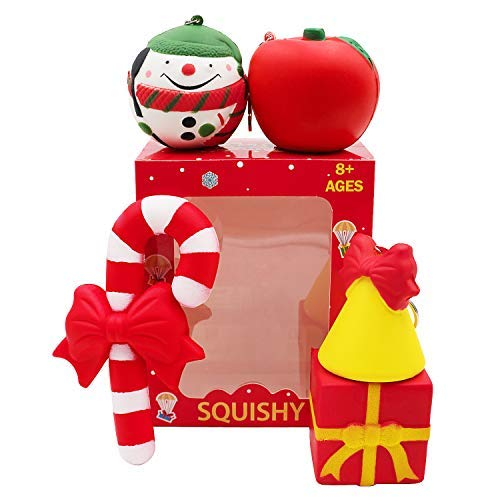Christmas Squishies Pack Toddler Toy - CREFUN (2018 Limited Edition) Gifts for Christmas Tree Ornament, Kid Toy, Stress Relief, Including 5 Pcs: Candy Cane Bell Gift Bag Apple Snowman Ball, Super Slow ()