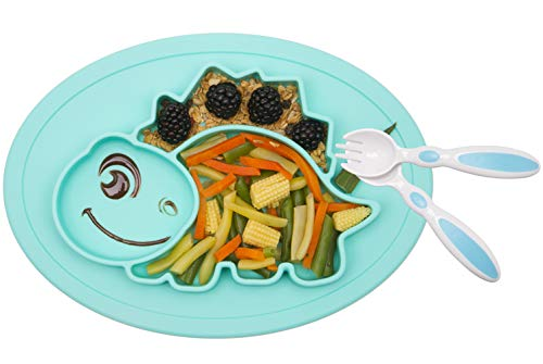 Silicone Divided Toddler Plates - Portable Non Slip Suction Plates for Children Babies and Kids BPA Free FDA Approved Baby Dinner Plate (Dinosaur-Cyan)