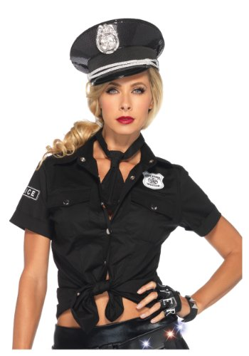 Leg Avenue Women's 2 Piece Police Shirt and Tie Costume, Black, Large (Pc Police Officer)