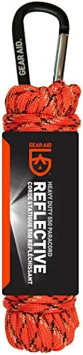 Gear Aid 550 Paracord and Carabiner, 7 Strand Utility Cord for Camping and Survival, Orange Reflective, 30 ft