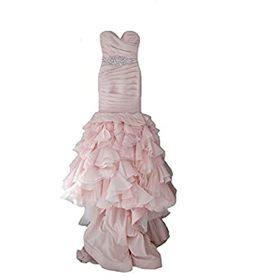 JOYNO BRIDE Women Pleat Layered Rhinestone Belt Organza Mermaid Wedding Dresses