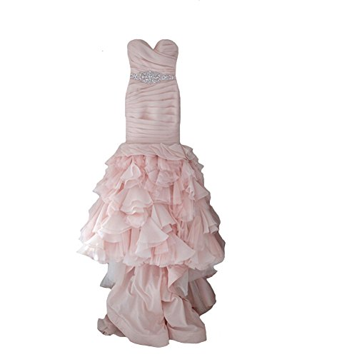 JOYNO BRIDE Women Pleat Layered Rhinestone Belt Organza Mermaid Wedding Dresses (22, Blush)