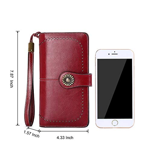 Slots Red and Straps Purse BAGTECH Genuine Yellow Leather with Wrist RFID Multi Card Wine Wallet xOOPzq8