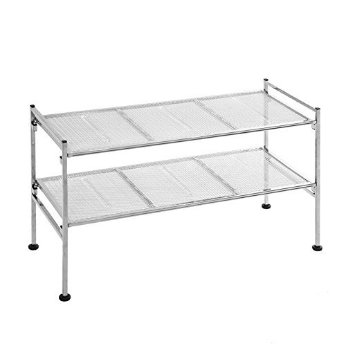 Chrome Shelf Rack (2-Tier Mesh Utility Shoe Rack -)