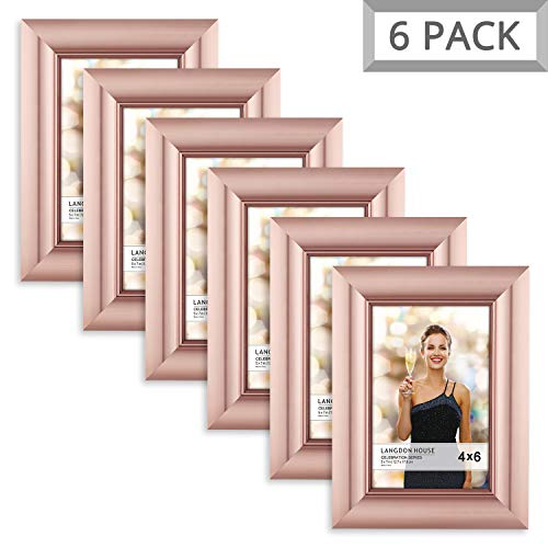Langdons 4x6 Picture Frame (6 Pack, Rose Gold), Rose Gold Photo Frame 4 x 6, Wall Mount or Table Top, Set Of 6 Celebration Collection ()