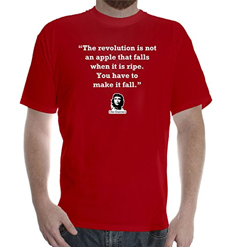 "New Mens Red colors short sleeve cotton tshirt Che Guevara Quote: ""The revolution is not an apple that falls when it is ripe. You have to make it fall."""