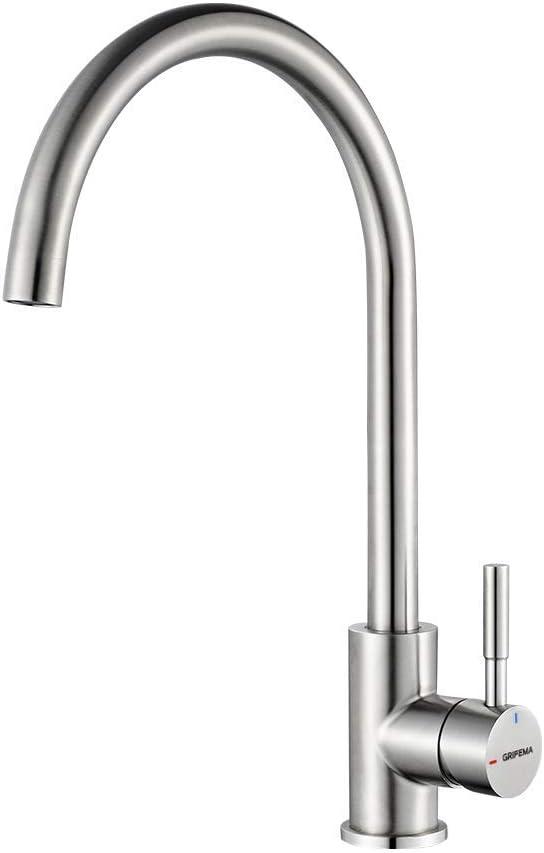 GRIFEMA Irismart - Grifo de cocina con caño orientable 360 °, mezclador de fregadero Alto, Acero