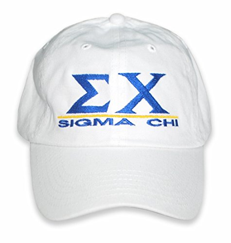 Express Design Group Greekgear Sigma Chi Baseball Cap With Line Design   White  One Size Fits Most