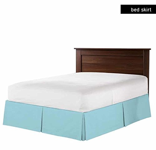 Luxurious Hotel Collection 15 Inch Drop (Full, Light Blue) Bed Skirt with Box Pleats and Split Corners - Brushed Microfiber - By The Great American (Bedskirt Light)