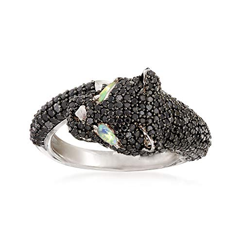 (Ross-Simons 3.20 ct. t.w. Pave Black Spinel and Opal Panther Ring in Sterling Silver)