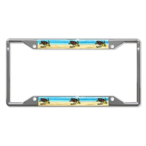 Saniwa License Plate Covers Sea Turtles Animal Chrome License Plate Frame Tag Holder Four Holes (Sea Animal License Plate Frame)