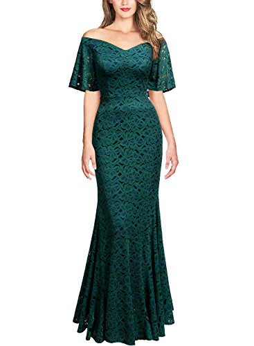 Miusol Women's Vintage Off Shouler Floral Lace Long Sleeve Formal Maxi Dress (X-Large, Dark Green)