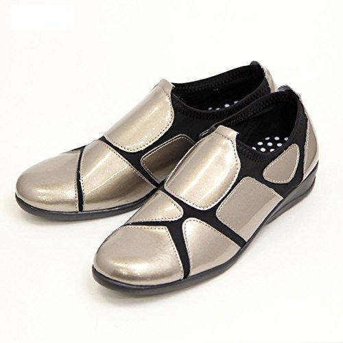 打倒カトリック教徒温かいレディース ウォーキングシューズ 履きやすい 外反母趾 靴 ストレッチシューズ エナメル SC1802 シルバー