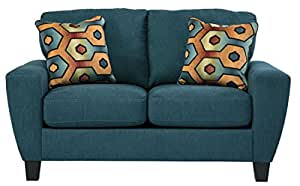 Ashley Furniture Signature Design - Sagen Loveseat Sofa - Contemporary Style Couch - Teal