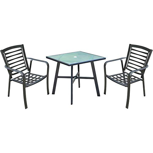Hanover Pemberton 3-Piece Commercial-Grade Bistro Set with 2 Stackable Dining Chairs and a 30