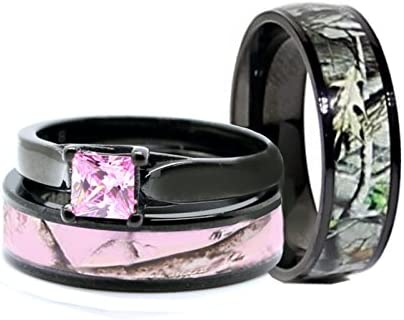 His & Hers Pink Women`s & Men`s Black Titanium Camo and Stainless Steel Princess Engagement Wedding Rings Set