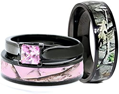 His Hers Pink Women S Men S Black Titanium Camo And Stainless