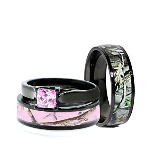 His & Hers Pink Women`s & Men`s Black Titanium Camo and Stainless Steel Princess Engagement Wedding Rings Set (Size Men 10; Women 6)