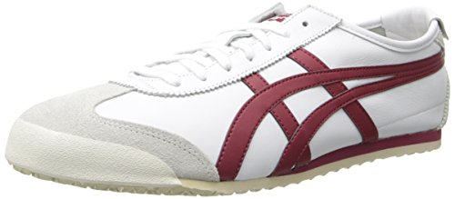 Onitsuka Tiger Mexico 66 Classic Running Shoe, White/Burgundy, 12.5 M US