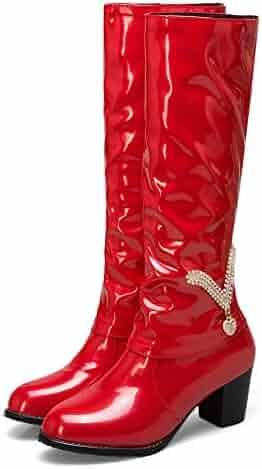 d76be4cff9d Memela Winter Women Rhinestone High Heel Patent Leather Boot Slip-On Middle  Tube Boots