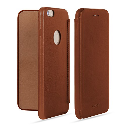 SUMGO® Apple iPhone 6 Plus, 6s Plus Hülle echt Leder Schutzhülle Flip Cover Back Case Tasche - in Braun