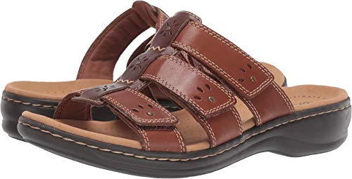 CLARKS Women's Leisa Spring Sandal, Brown Multi Leather, 80 M US