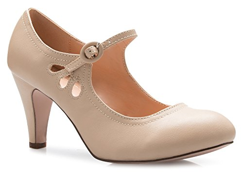OLIVIA K Womens Kitten Heels Mary Jane Pumps - Adorable Vintage Shoes- Unique Round Toe Design With An Adjustable Strap, Nude, 7.5 B(M) US