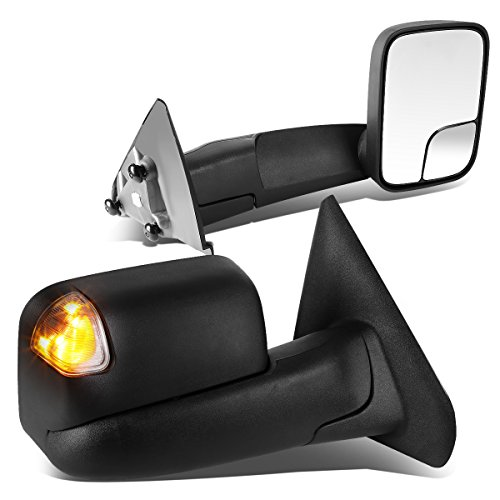Automatic Turn Signal (Dodge Ram Injection Molded Textured Manual Telescoping Truck Towing Mirror w/ Turn Signal - DR DH D1 DC DM)
