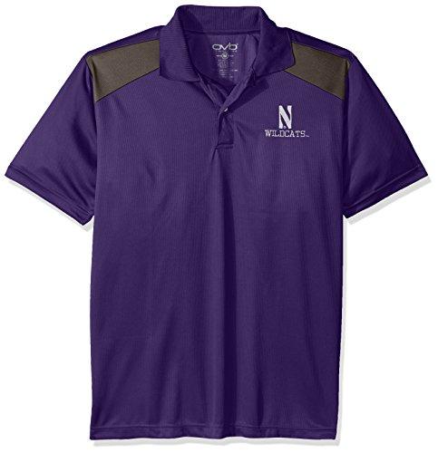 Old Varsity Brand NCAA Northwestern Wildcats Men's CTR Logo Polo Shirt, X-Large, Purple/Charcoal