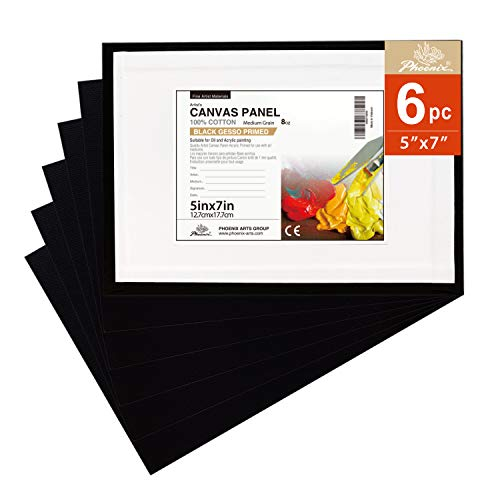 PHOENIX Black Painting Canvas Panel Boards - 5x7 Inch/6 Pack - 1/8 Inch Deep Artist Canvas for Oil & Acrylic Paint, Collages, Advertising Poster & Decorating Projects
