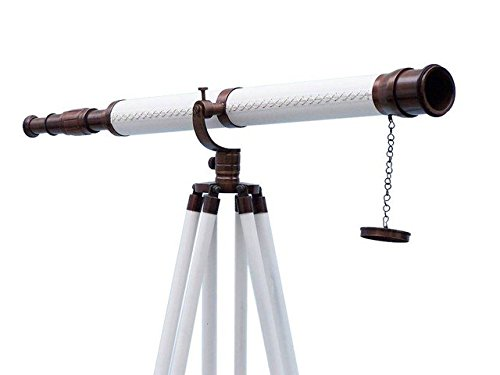 Handcrafted Decor ST-0117 BZ-WL Floor Standing Bronzed with White Leather Galileo Telescope, 65 in.