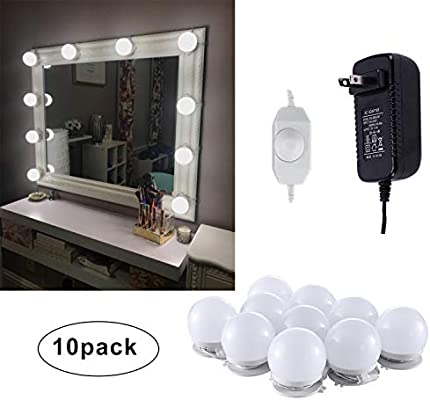 10 Bulbs Daylight White Mirror Not Included Linkable and Flexible Strip Dressing Table Dimmable & Plug in AIBOO Vanity Mirror Lights Kits for Make-up Table Set