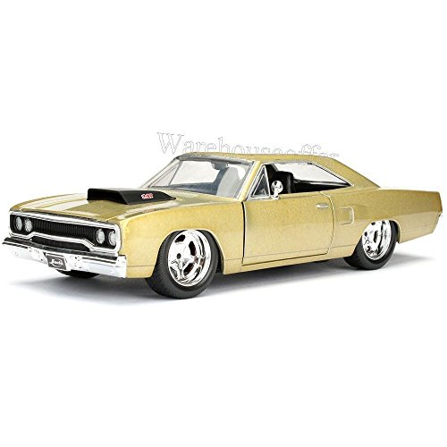 NEW 1:24 DISPLAY JADA TOYS BIG TIME MUSCLE - GOLD 1970 PLYMOUTH ROAD RUNNER Diecast Model Car By Jada Toys (WITHOUT RETAIL BOX)