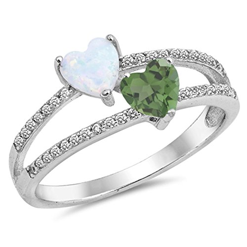 925 Sterling Silver Faceted Natural Genuine Green Emerald Heart Ring Size 8