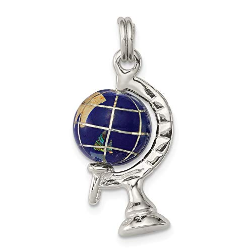Enameled Globe Charm - Solid 925 Sterling Silver Pendant Blue Enameled Globe Charm (23mm x 14mm)