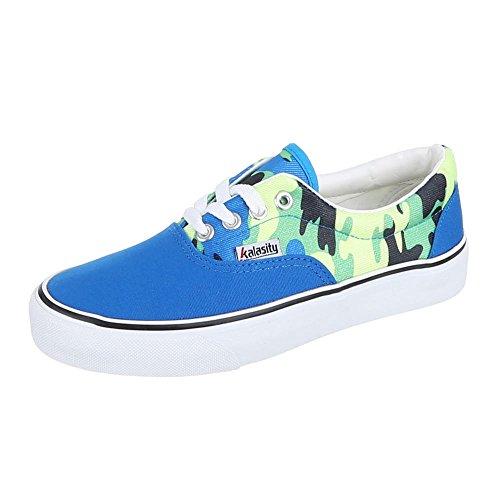 Ital-Design Damen Schuhe, YJ876013-5, Freizeitschuhe Schnürer Sneakers Blau
