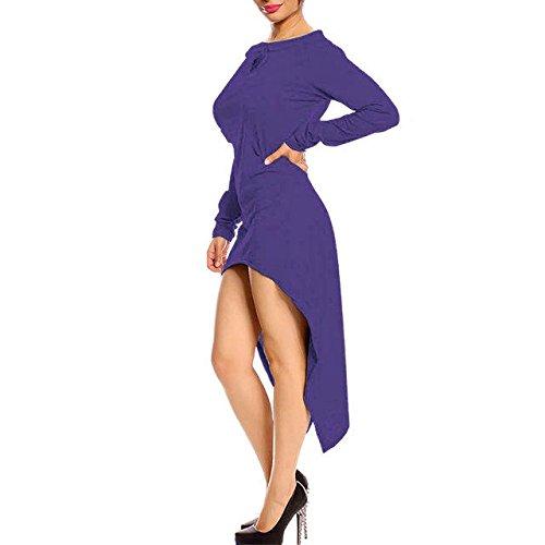 Loose Womens Dress Sleeve Casual Tunic BetterGirl Off Top Long Shirt Purple TM Shoulder qzxP5Tw