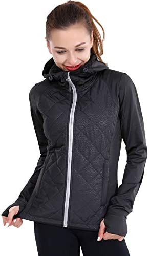 AMORUN Women's Long Sleeve Full Zip Hoodie Jacket with Thumb Holes
